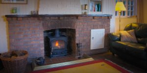 log fire at Cliffe Cottage
